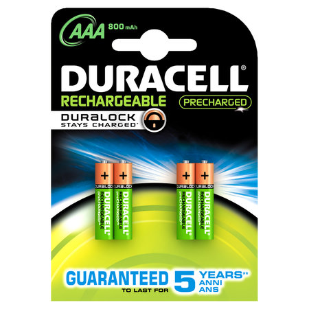 DURACELL BATTERIJ NI-MH STAYCHARGED AAA 800MAH 4X